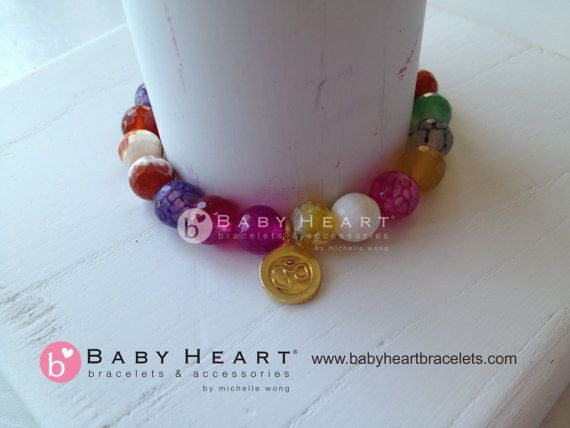 COLOR ME HAPPY rainbow om charm bracelet by babyheart on Etsy, $163.00