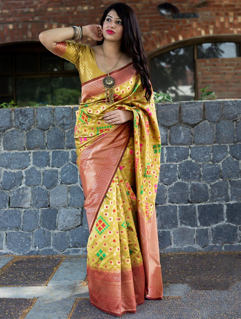 74d662502a783a Yellow Art Silk Saree with Unstitched Blouse  saree  sari  traditional   indian  bollywood  ethnic  womans  womens  party  casual  wear  fashion   blouse ...