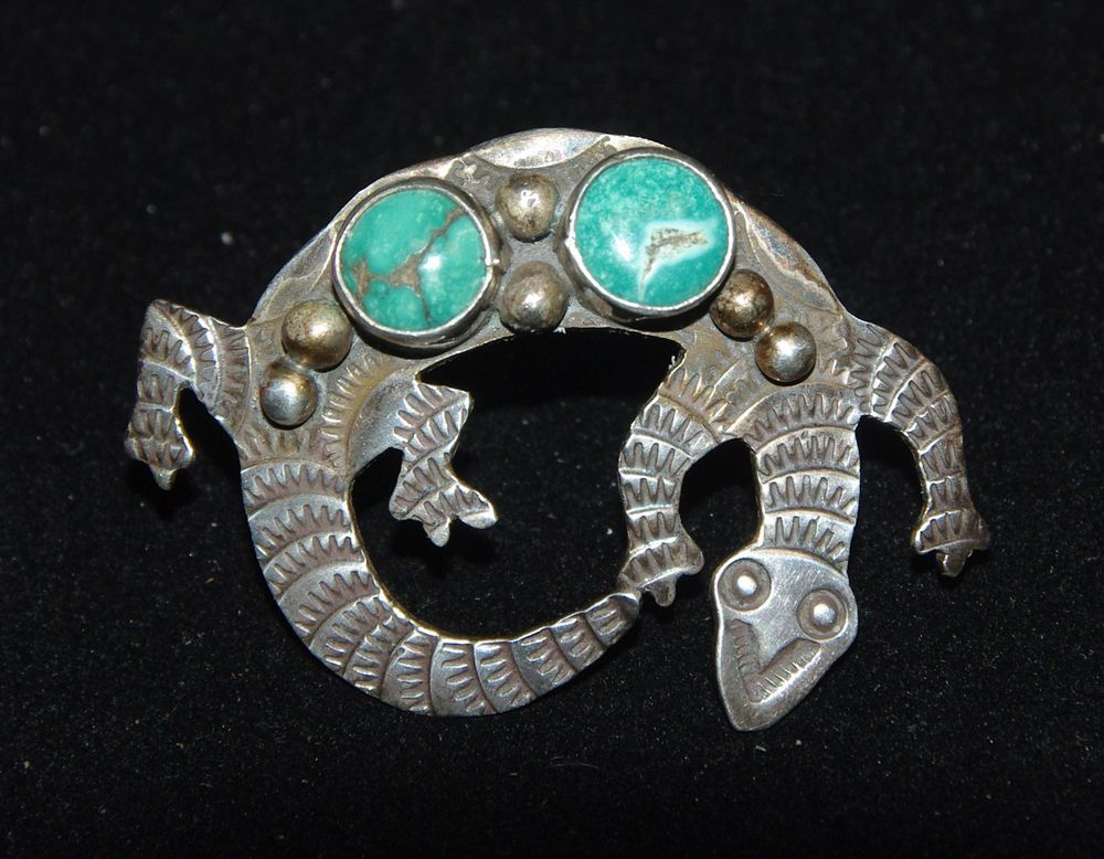 Vintage Turquoise & Sterling Silver Lizard Pin or Brooch - Signed
