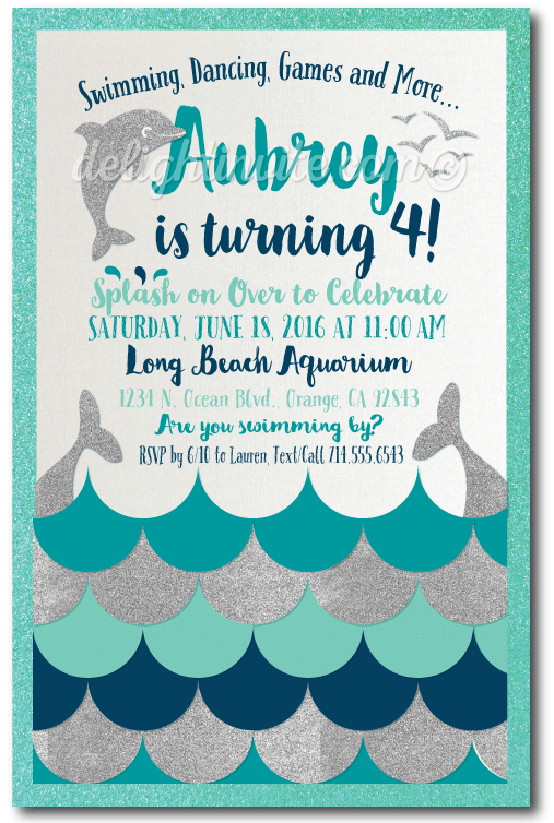 Swim Party Dolphin Birthday Invitations professionally printed on