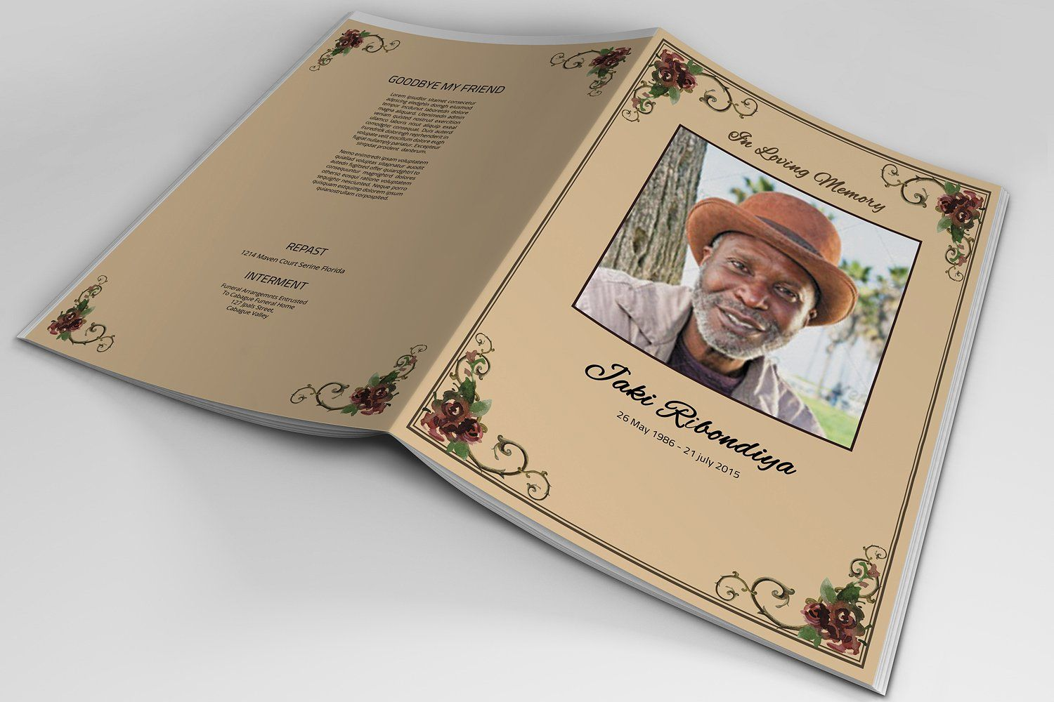 8 Page Funeral Booklet TemplateV510 SizeInformation