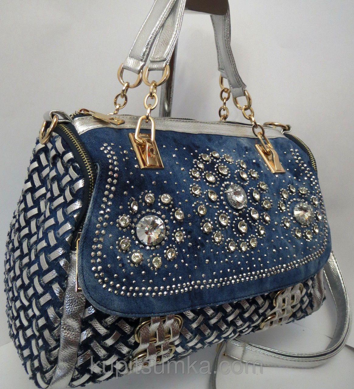 543e8c2ccc24 Женская джинсовая сумка с цветными камнями Farfalla Rosso | сумки