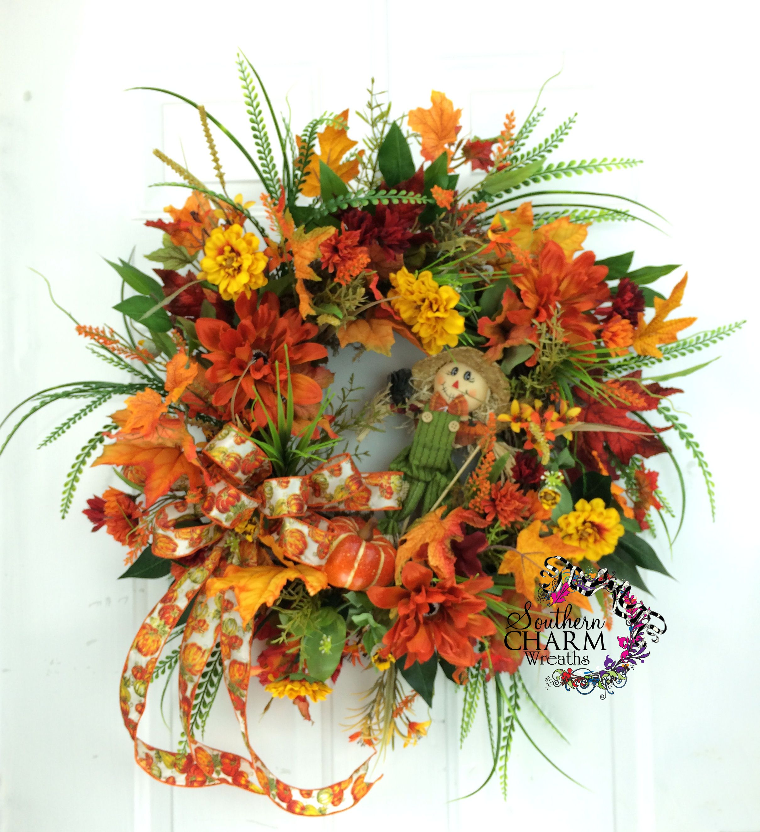 Silk Flower Fall Wreath With Scarecrow Flowers Leaves By