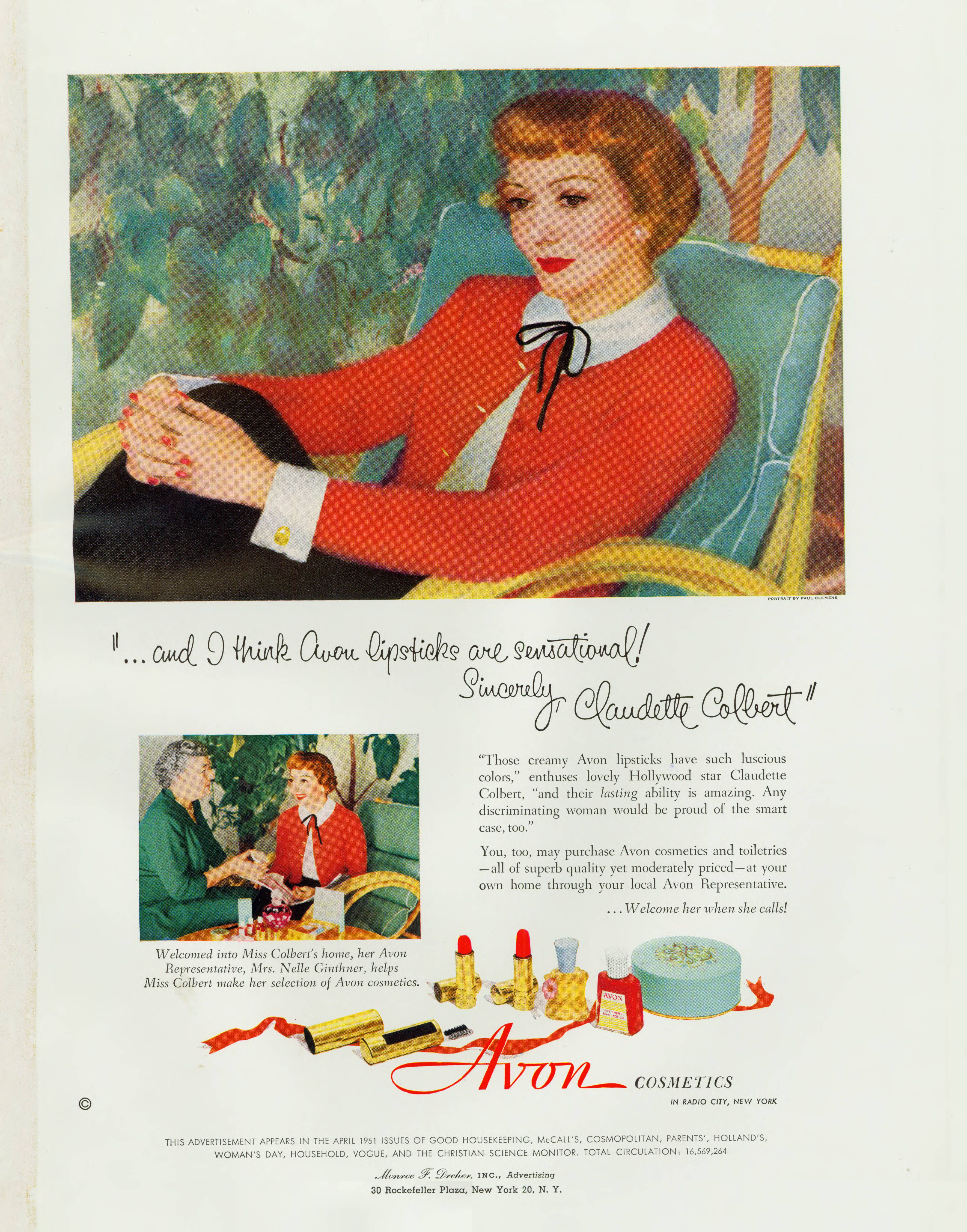 Claudette Colbert Avon Ad