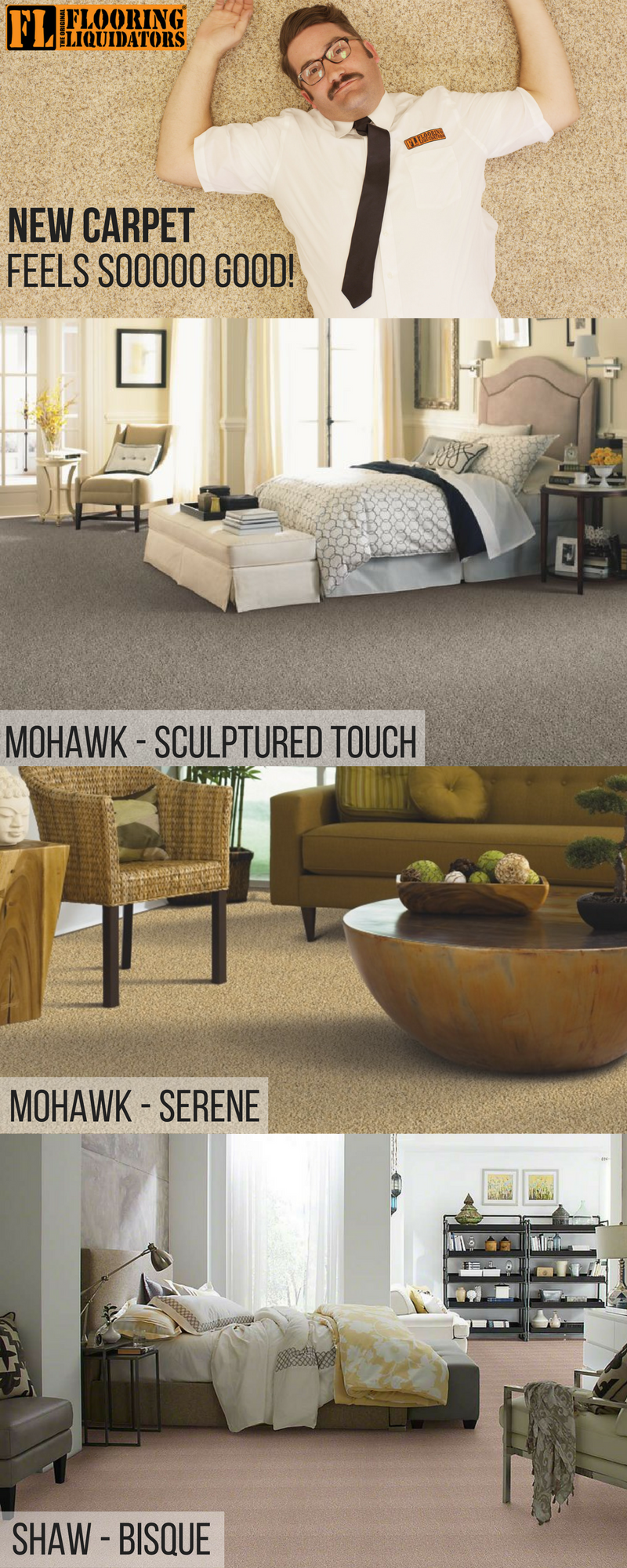We have a wide variety of carpets to choose from with low
