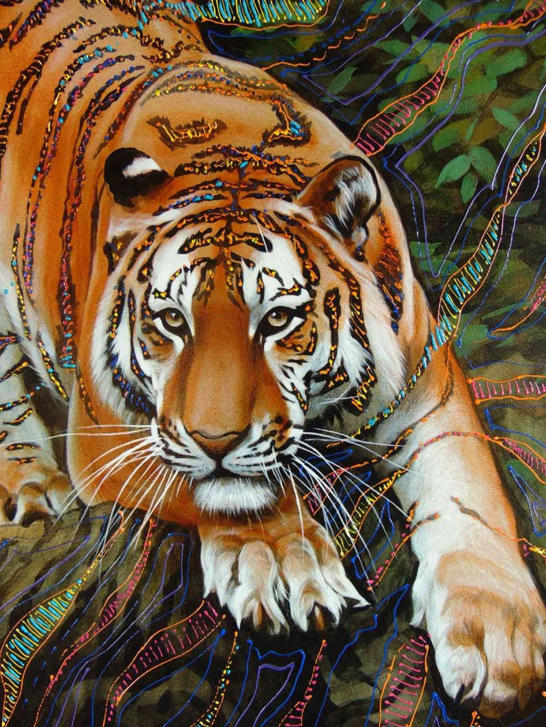 bengal tiger painting tiger gift tiger lover tiger wall art tiger oil painting TIGER ART PRINT wildlife art tiger decor