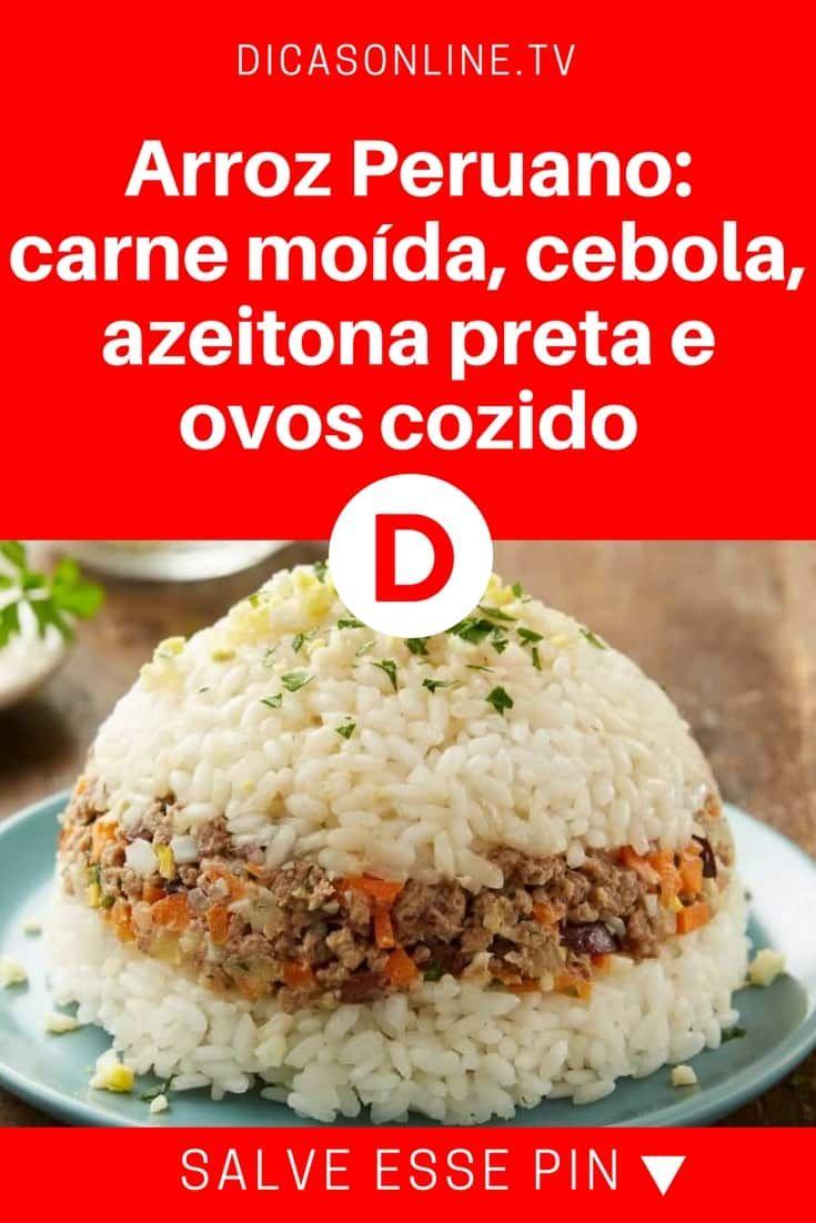Arroz Peruano Carne Moida Cebola Azeitona Preta E Ovos Cozido