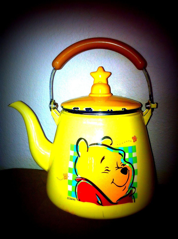 Vintage Winnie The Pooh Disney Tea Pot Yellow Orange Red with star ...