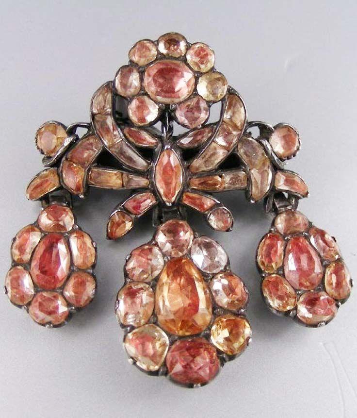 Portuguese topaz pendantbrooch circa 1730 silver set w portuguese topaz pendantbrooch circa 1730 silver set w golden aloadofball Images
