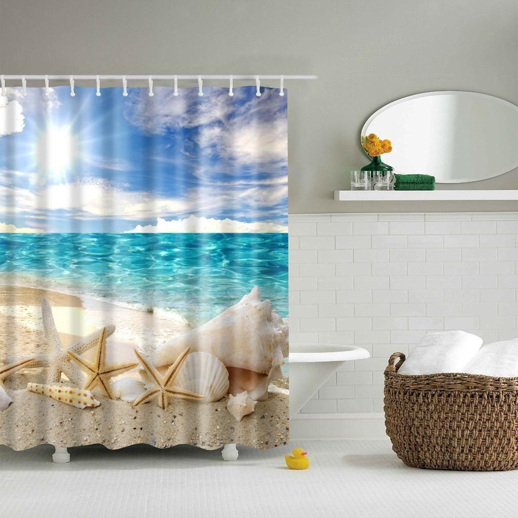 15 26 Aud Showerproof Shower Curtain 3d Print Sea Beach 12