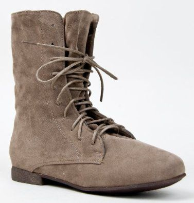 SANDY-62 Basic Casual Cuffed Lace up Flat Ankle Bootie Boot