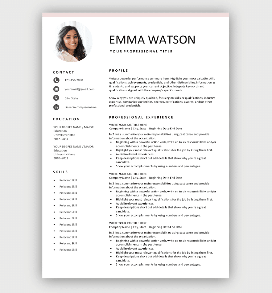 Free Resume Template Download for Free in 2020