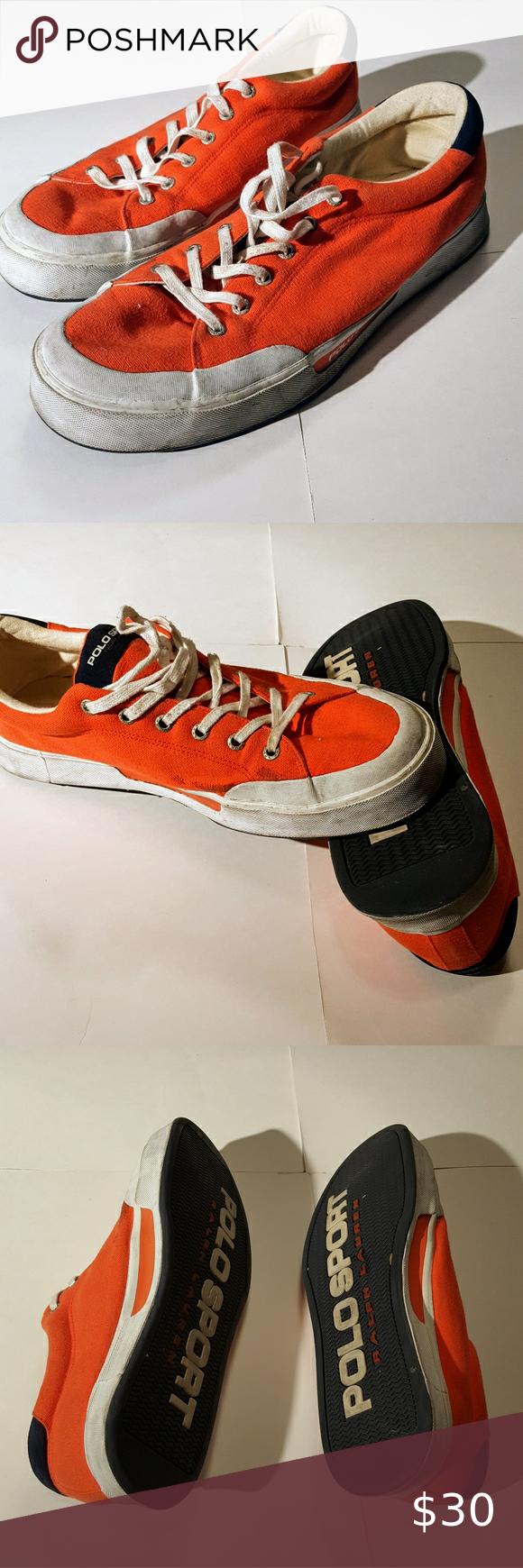 Nostalgic Polo Sport Neon Orange Sneakers Mens 13 In good used condition Has som…
