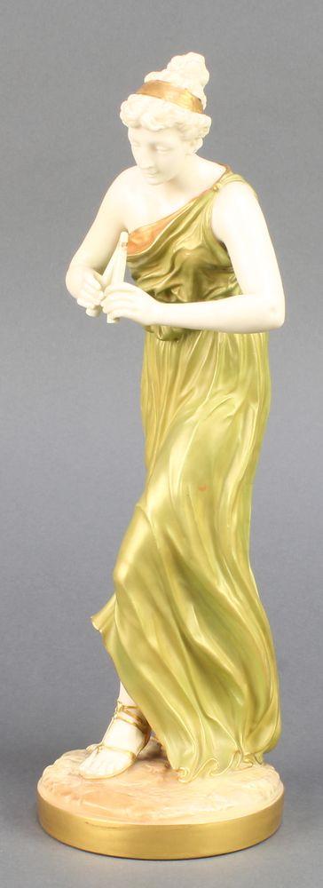 "Lot 230, A Royal Worcester blush porcelain figure of a lady playing a flute 1828 12 1/2"", est £50-100"