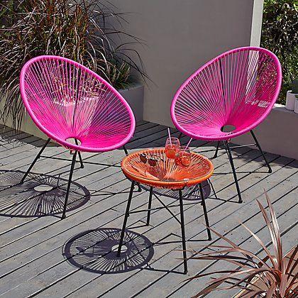 Camden 3 Piece Bistro Set Pink And Orange Home Garden George At Asda