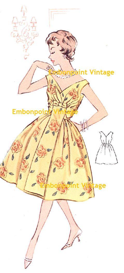 Plus Size Or Any Size Vintage 1950s Dress Pattern Pdf Pattern No 4 Susan Vintage 1950s Dresses 1950s Dress Patterns Vintage Dress Patterns