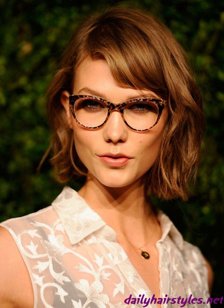 Pleasant Karlie Kloss Short Chestnut Color Hair Eye Glasses Pinterest Hairstyles For Women Draintrainus