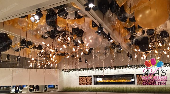This Gold Silver And Black Ceiling Balloon Decorations Was Done