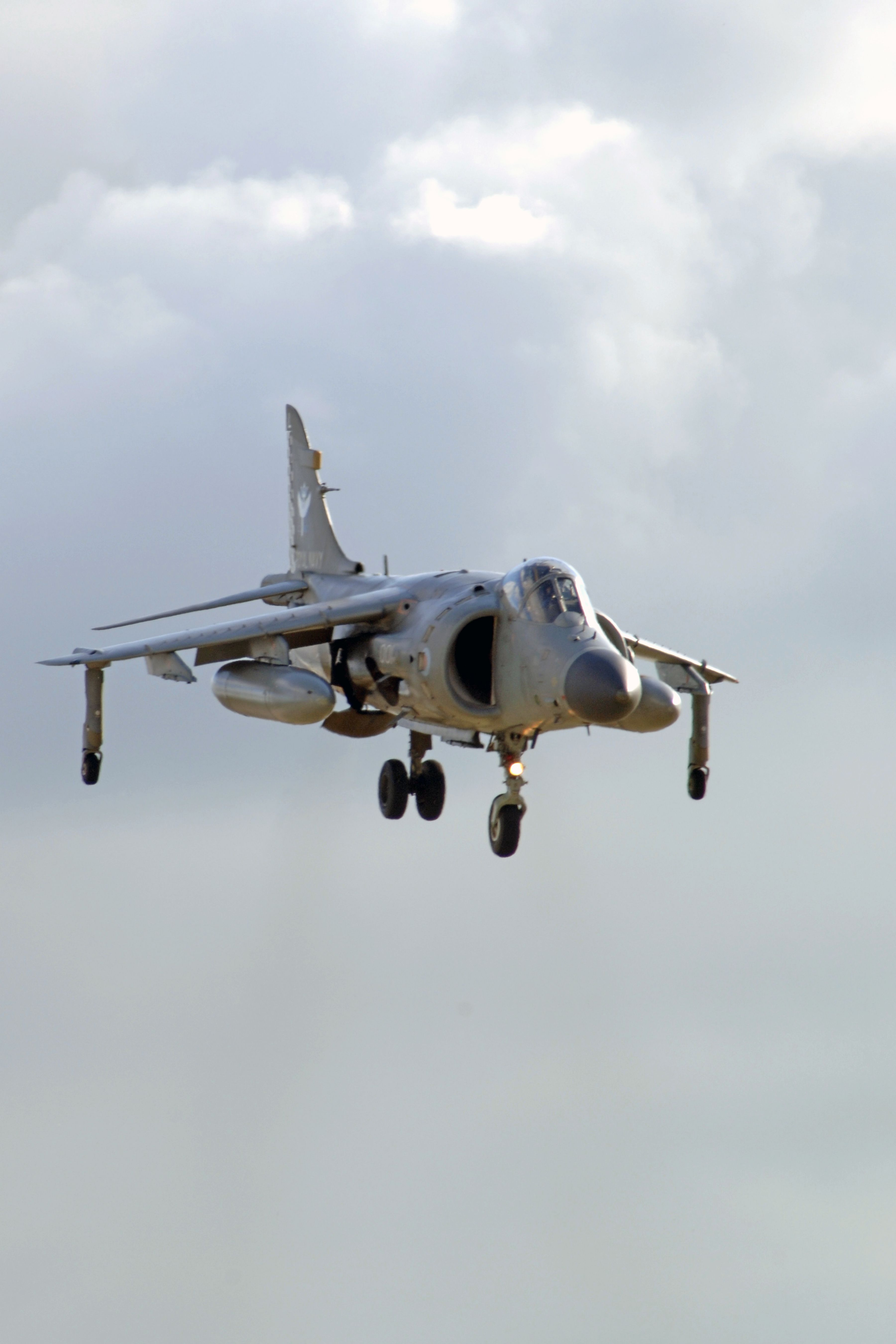 Hawker Siddeley Harrier VSTOL bows to the queen at RNAS