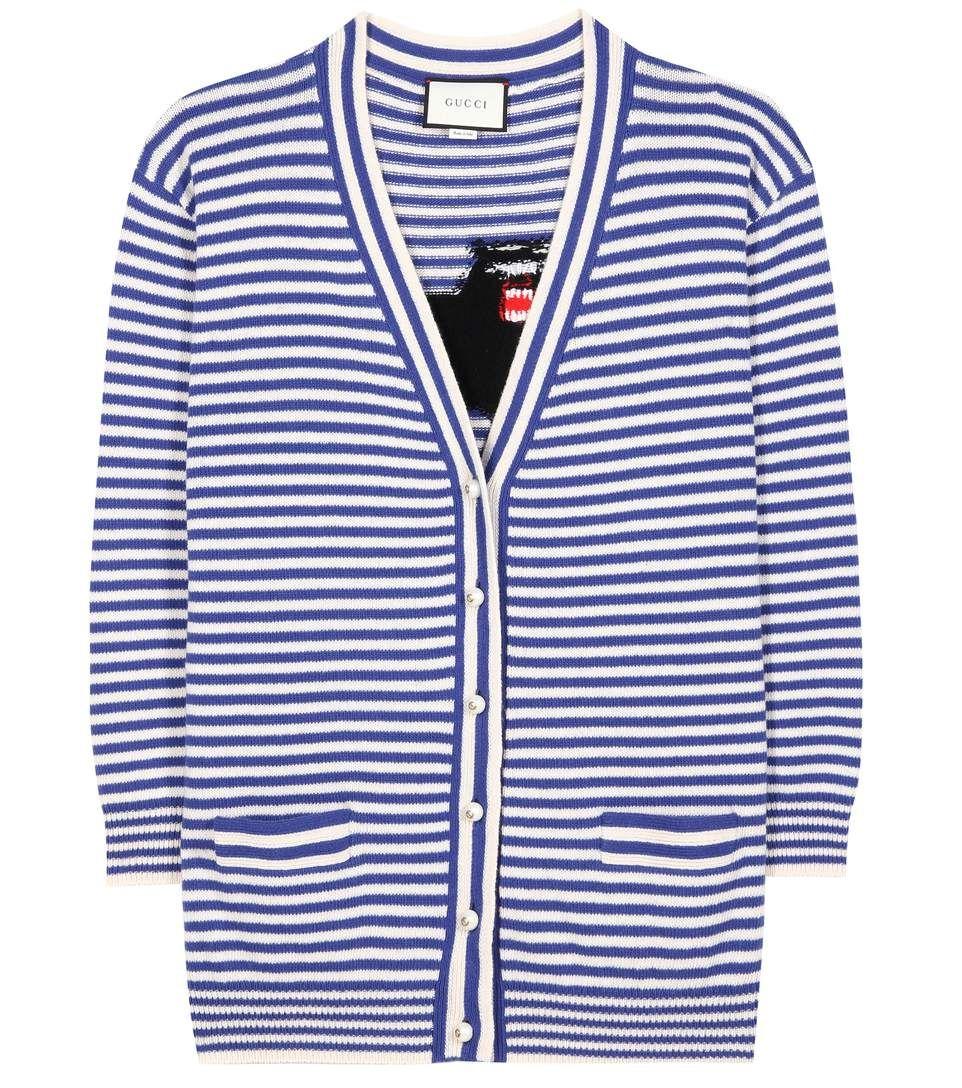 66c30d78060e Cardigan rayé en laine bleu et blanc à motif intarsia