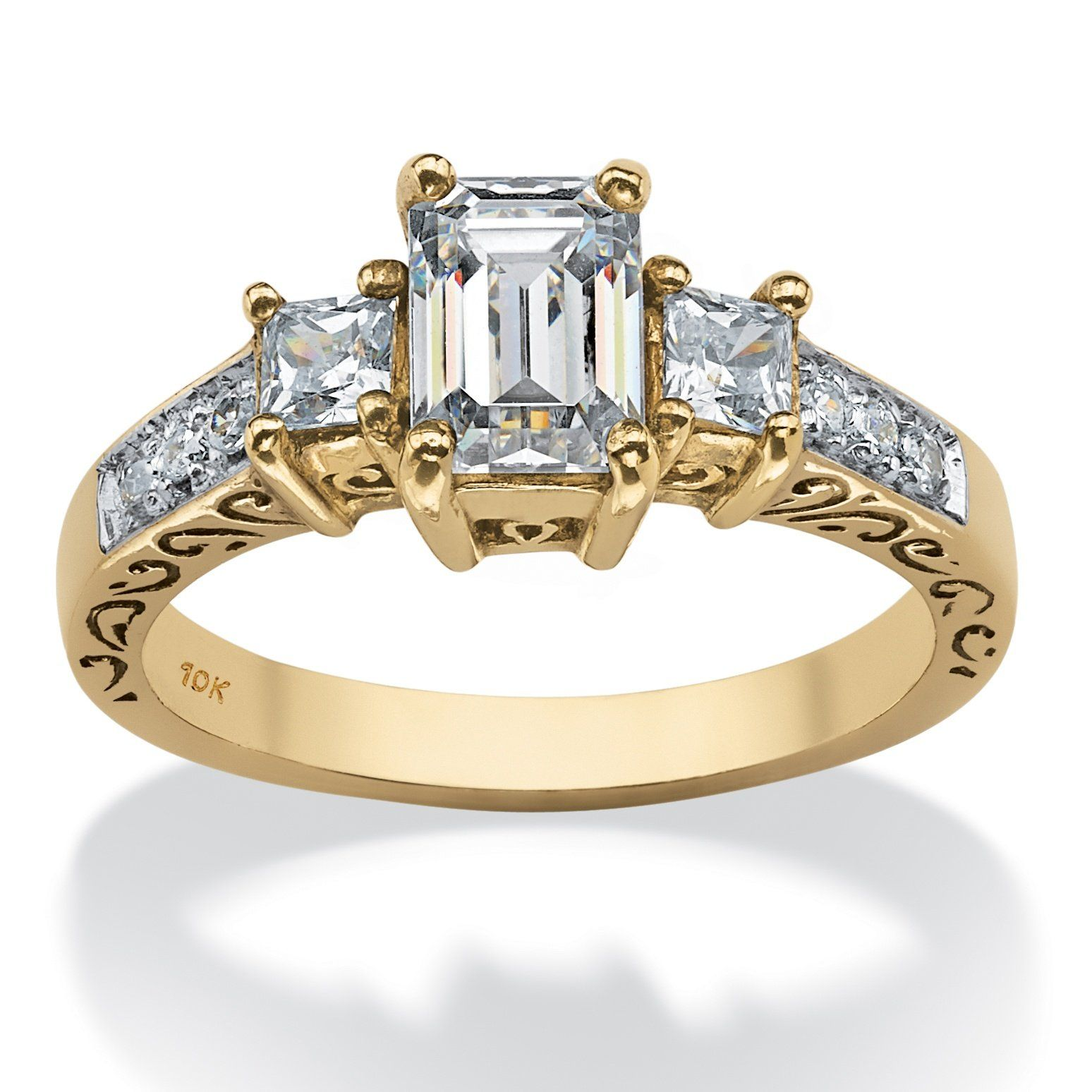 Emerald Cut White Cubic Zirconia 10k Yellow Gold Scroll Ring 10k