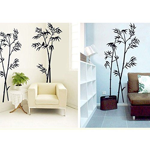 Bamboo Mural Removable Craft Art Black Wall Sticker Living Room