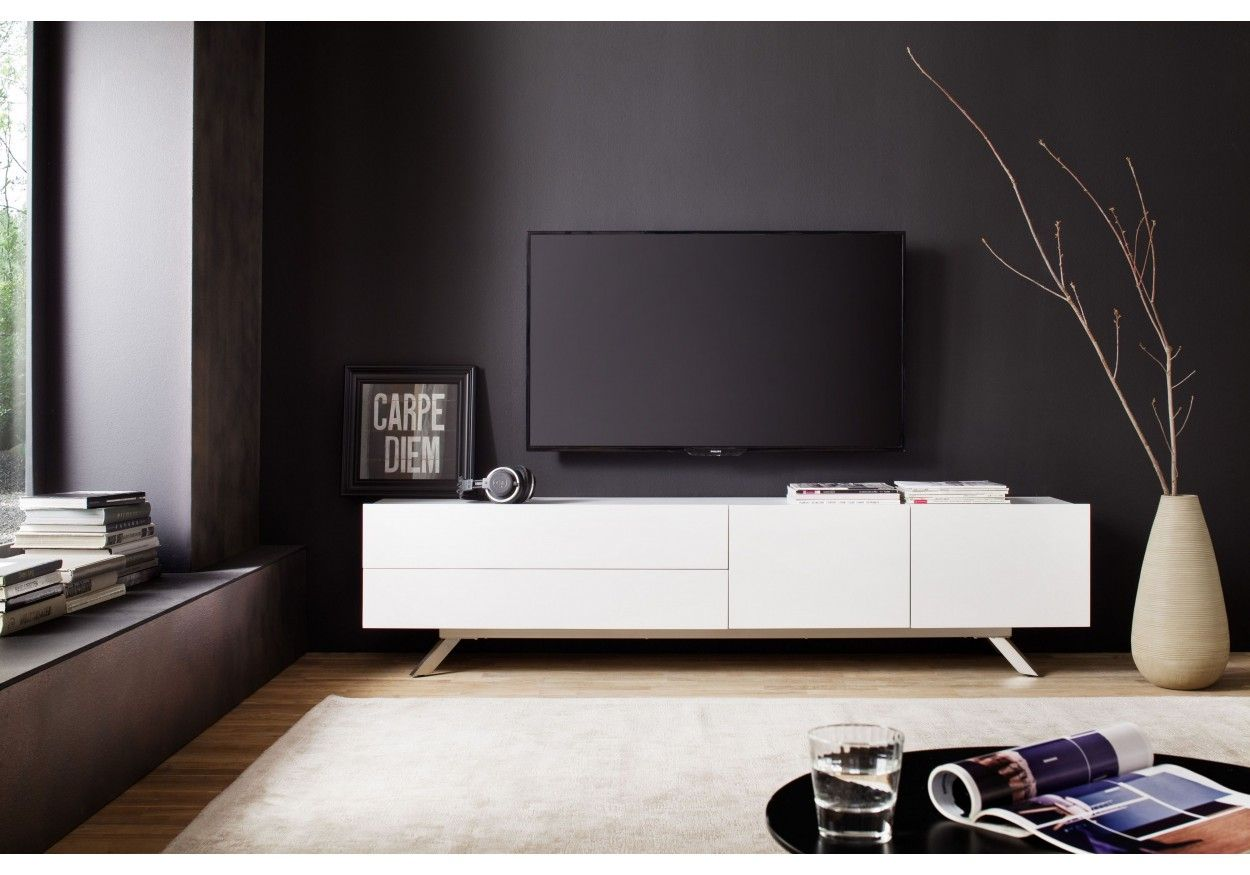 41 02606 tv lowboard weiss matt lackiert zu hause. Black Bedroom Furniture Sets. Home Design Ideas