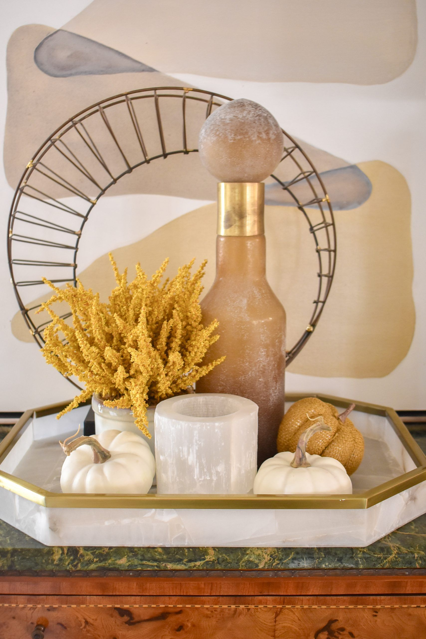When Is The White House Decorated For The 2020 Thanksgiving-Christmas Holidays? Simple Harvest Gold and White Fall Decor   Home with Holliday in