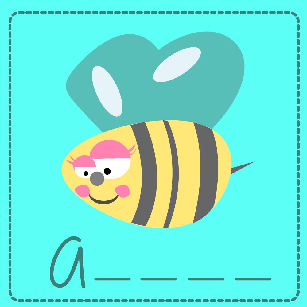 Abeja - Bee  #ilustracion #ilustration #infantil #child #abecedario #alphabet #aprender #learn #divertido #funny