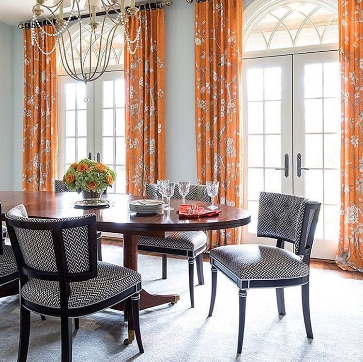 Dining Room Drapes In Schumacher Mary McDonald Chinois Palais Tangerine And Dudley Print On