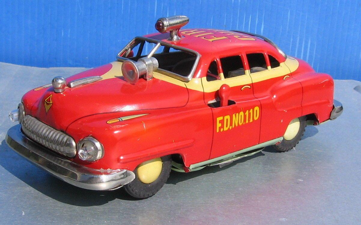 Vintage Tin 1950's Electromobile Fire Chief Car Mizuno/Alps NO-110