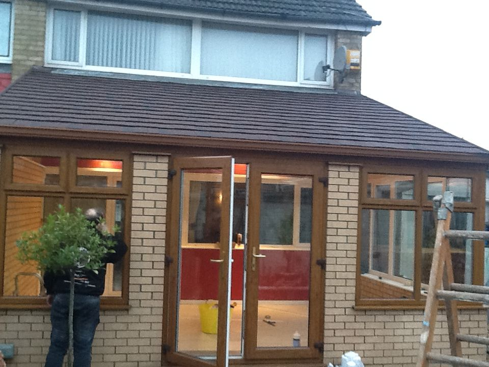 Lean to tiled conservatory roof with light oak frames for Garden room lean to