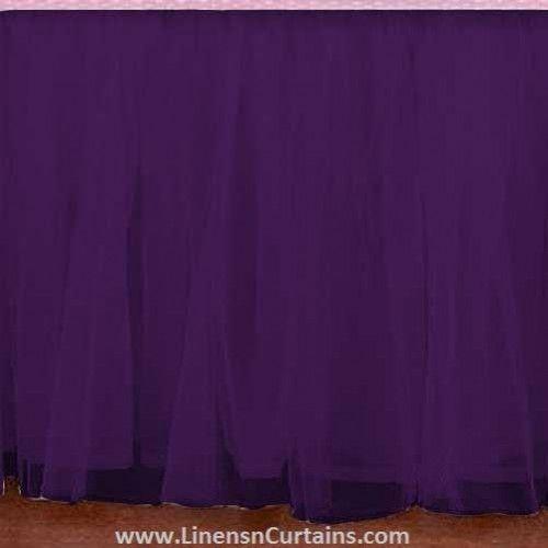 Any Size Purple Tulle Bed Skirt Dust Ruffle Velcro Detachable Queen Full Twin Xl Cal King Daybed Extra Long Split Corner Ruffle Crib Skirt Crib Skirts Tutu Crib Skirt