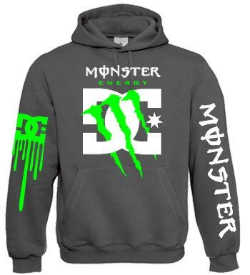 Monster Energy Dc Shoes Green Claw Hoodie (Large, Heather