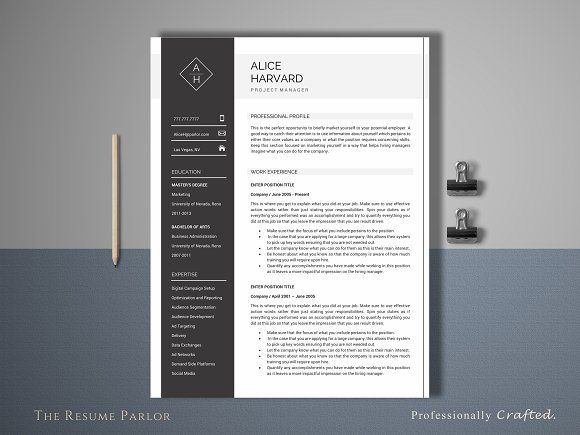 Resume Template 4 Page Manager by The Resume Parlor on - sample product description template