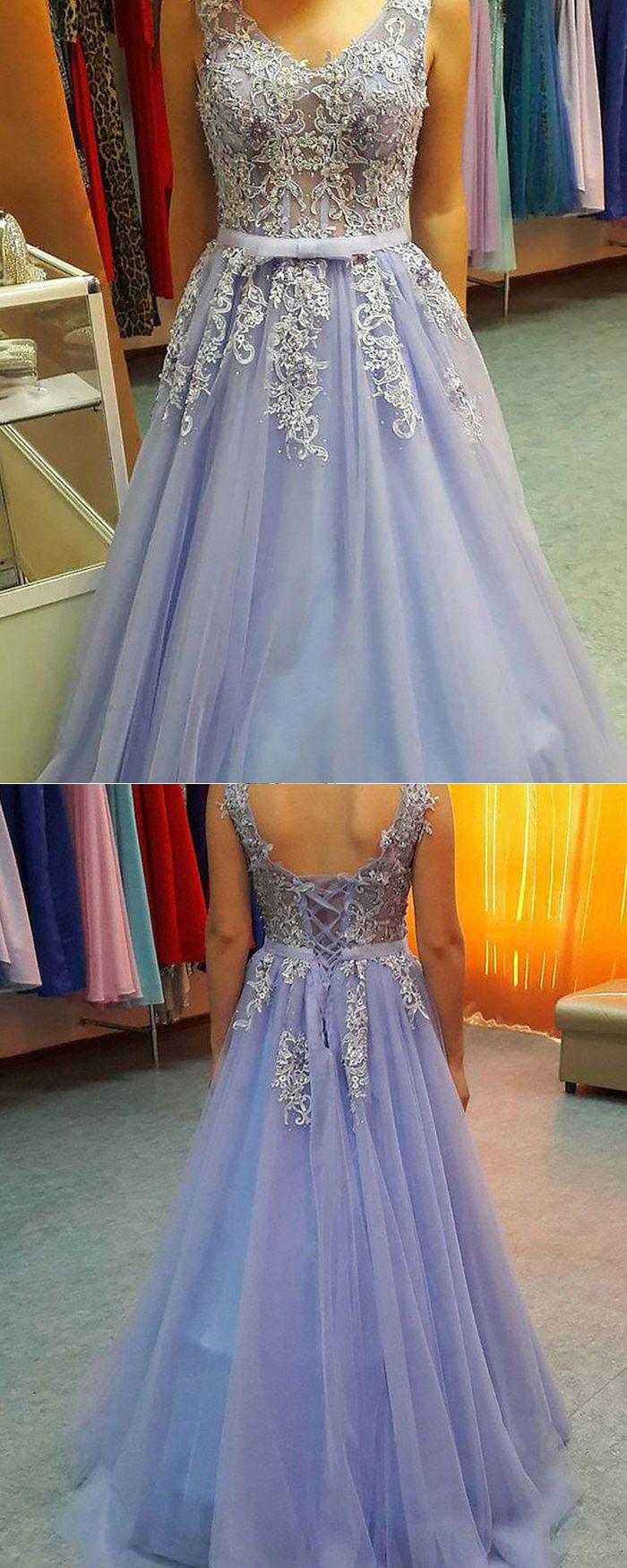 Vneck appliqued lavender tulle long prom dress pm fashion