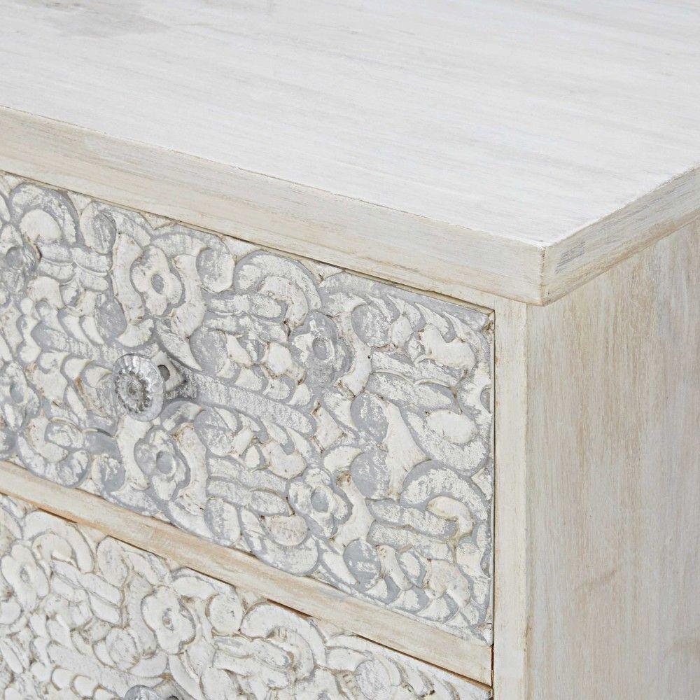 Malle Bar Maison Du Monde mueble de tv de mango esculpido y blanqueado | decorative