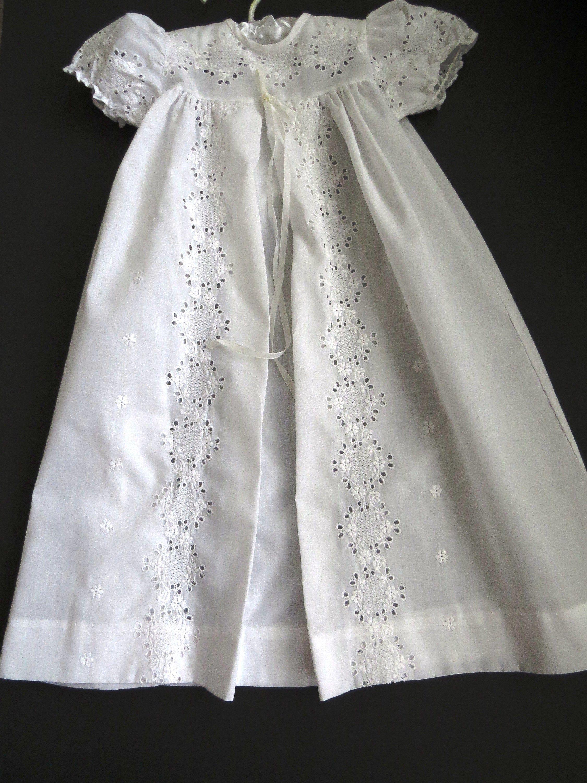 Vintage Baby Christening Dress By Alexis Size 6 To 9 Mos Etsy Baby Christening Dress Christening Dress White Eyelet Dress [ 3000 x 2250 Pixel ]