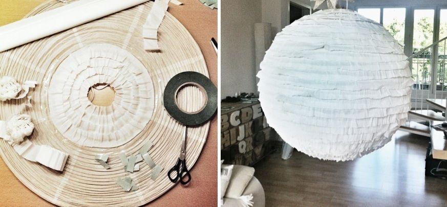 alten papier lampenschirm mit krepp versch nern von cleansweepstuff home decor handmade. Black Bedroom Furniture Sets. Home Design Ideas