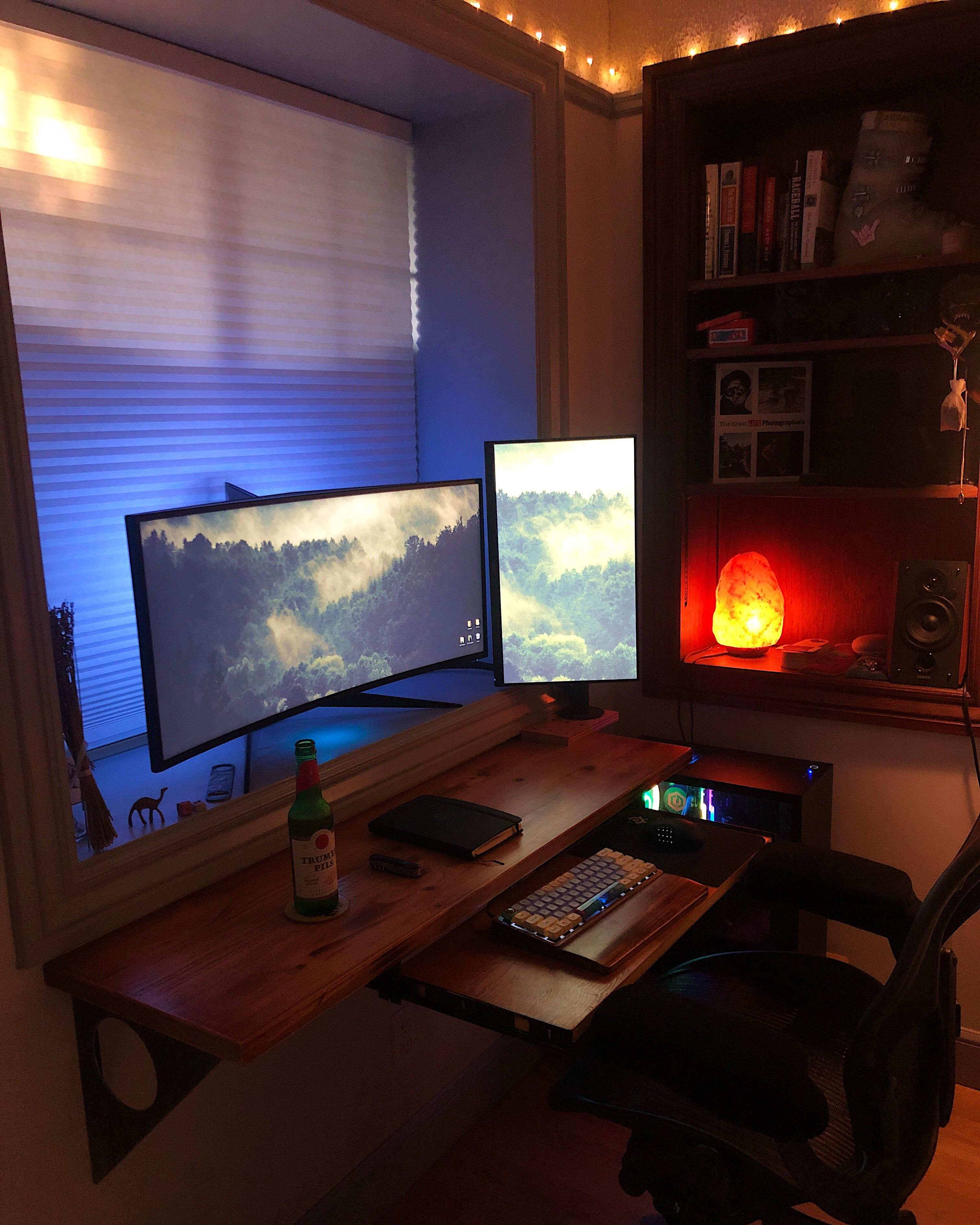 Update. Built a keyboard tray... Computer setup