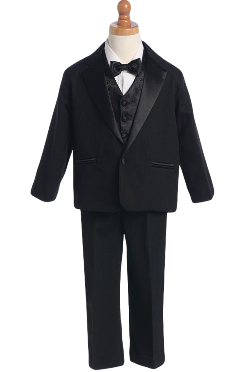 ecd7681667bb Single Button Dinner Jacket Tuxedo with Vest & Bow Tie in White, Black or  Ivory (Boys 3 months - size 14). This classic little ...