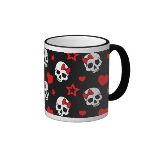 Goth Skulls & Hearts Ringer Mug