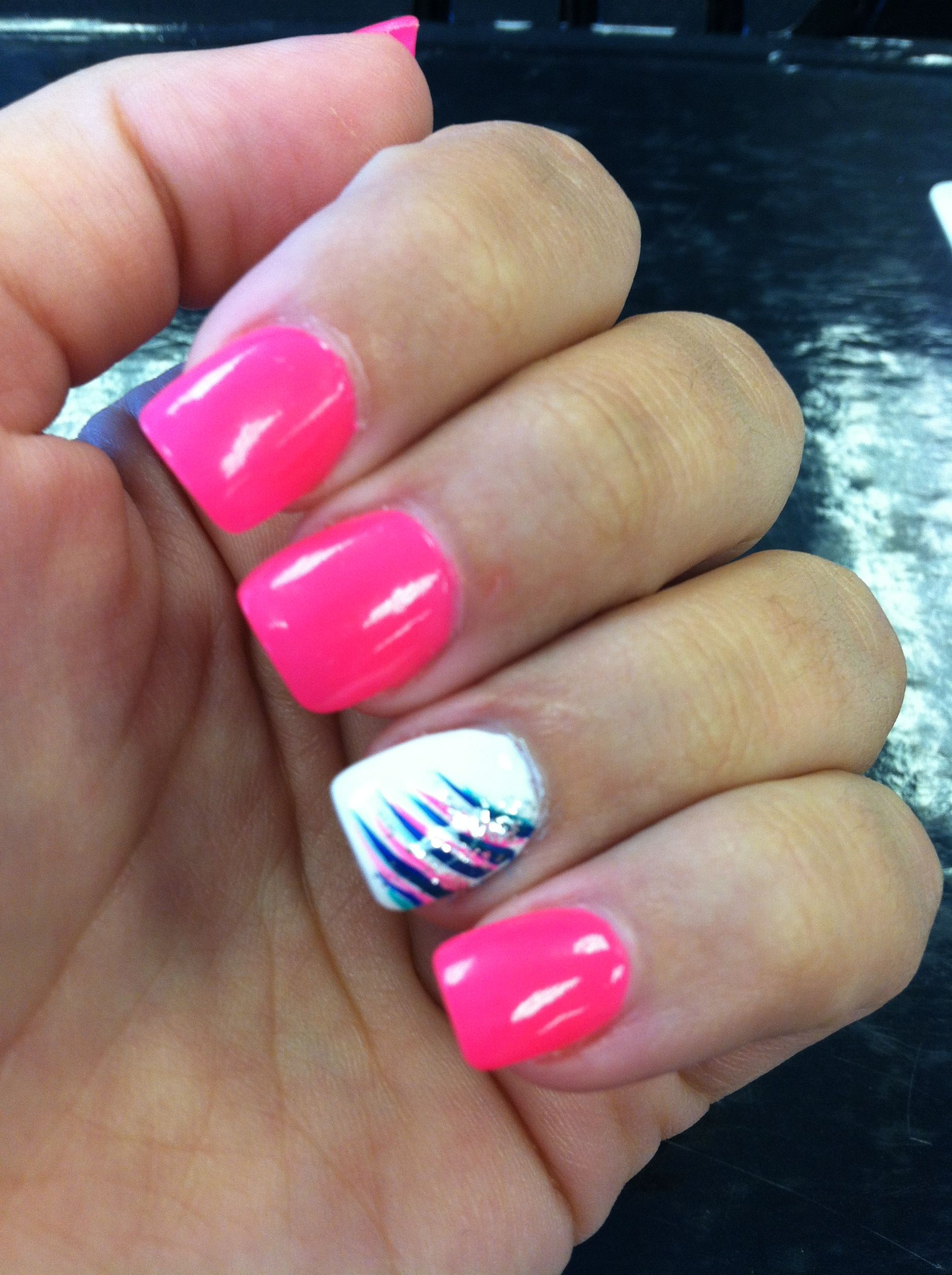 Hot pink and white nails with colorful stripes @Elizabeth ...