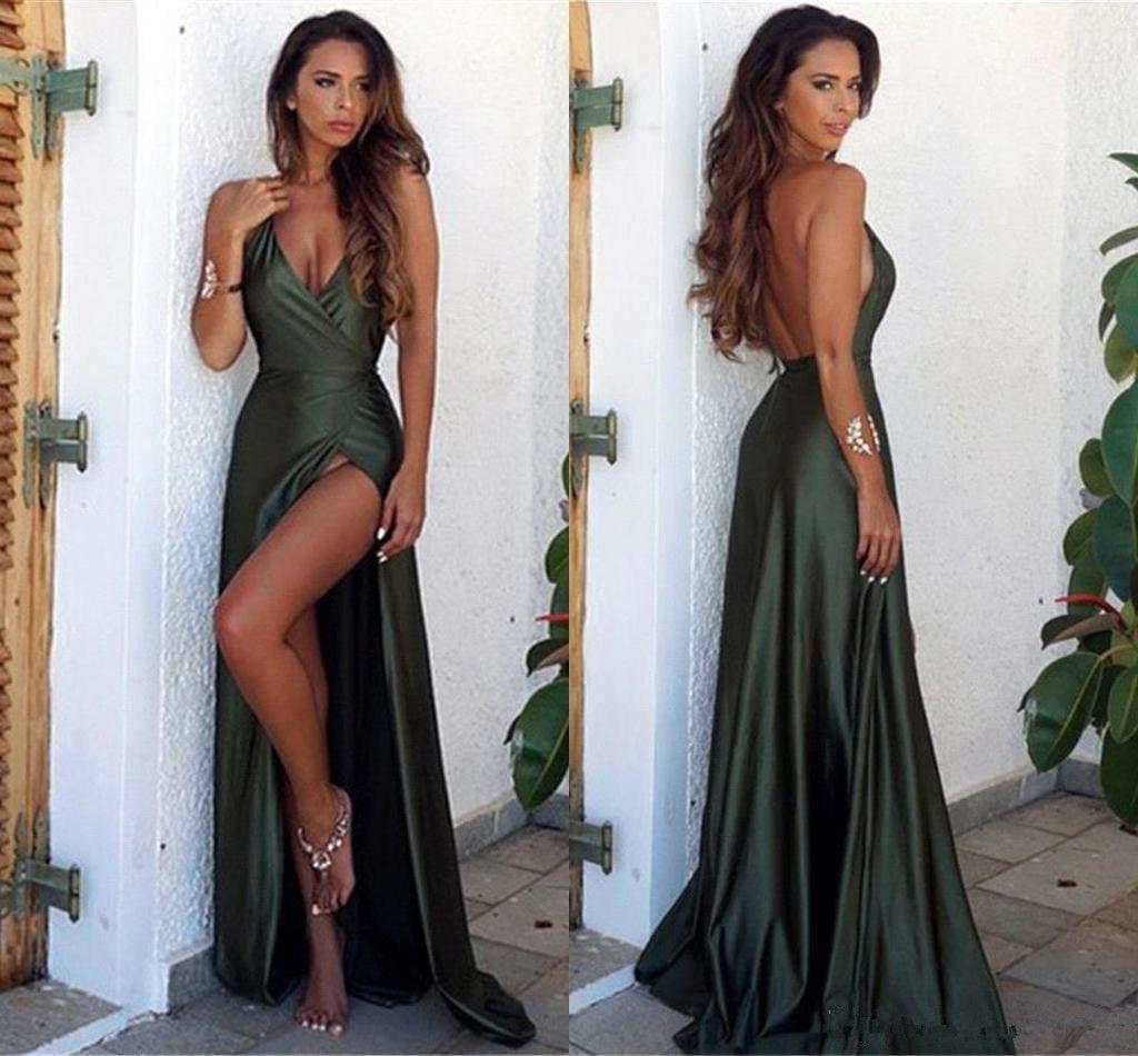 V neck simple prom dress with slit trajes de festa in
