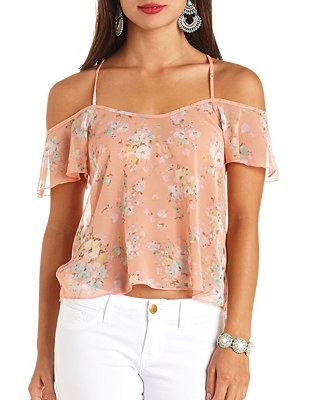 a71d74b028006 Sheer Floral Print Strappy Cold Shoulder Top  Charlotte Russe