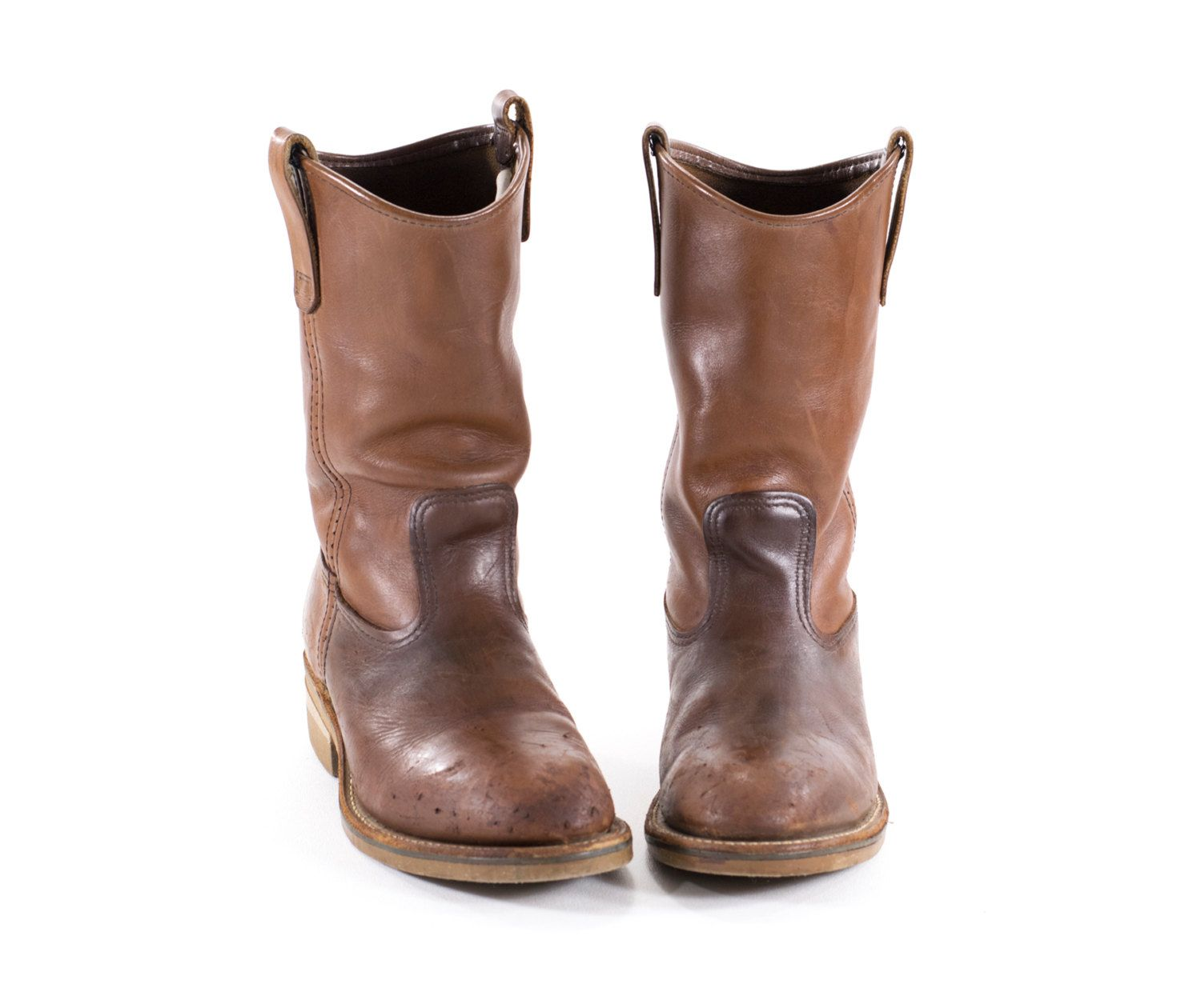 RED WING Boots Vintage Work Boots Brown Leather Western Cowboy ...