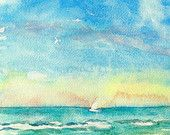 Watercolor beach scene ocean and sky, digital print from my original watercolor painting. Quiet Sail 9 x 12