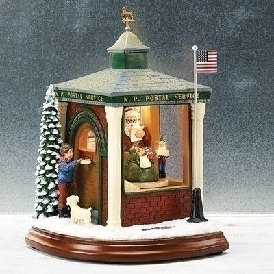 Roman, Inc. Musical LED Post Office Figurine