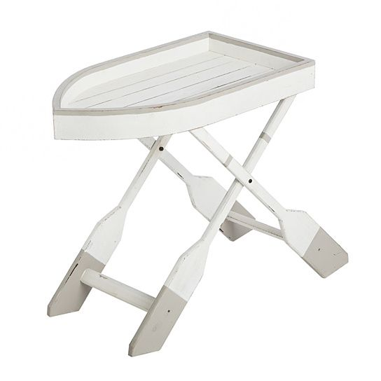 A sleek addition to your entryway or living room, this entry way table brings an elegant touch to your home. The nautical design is a row boat shape with oar-shaped legs in cream and grey. This table measures approximately 27.6 x 15.2 x 28.2 inches and requires some light assembly upon arrival. This table is for indoor use only and will make a great addition to your home.