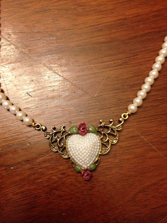 Vintage Heart Beaded Necklace